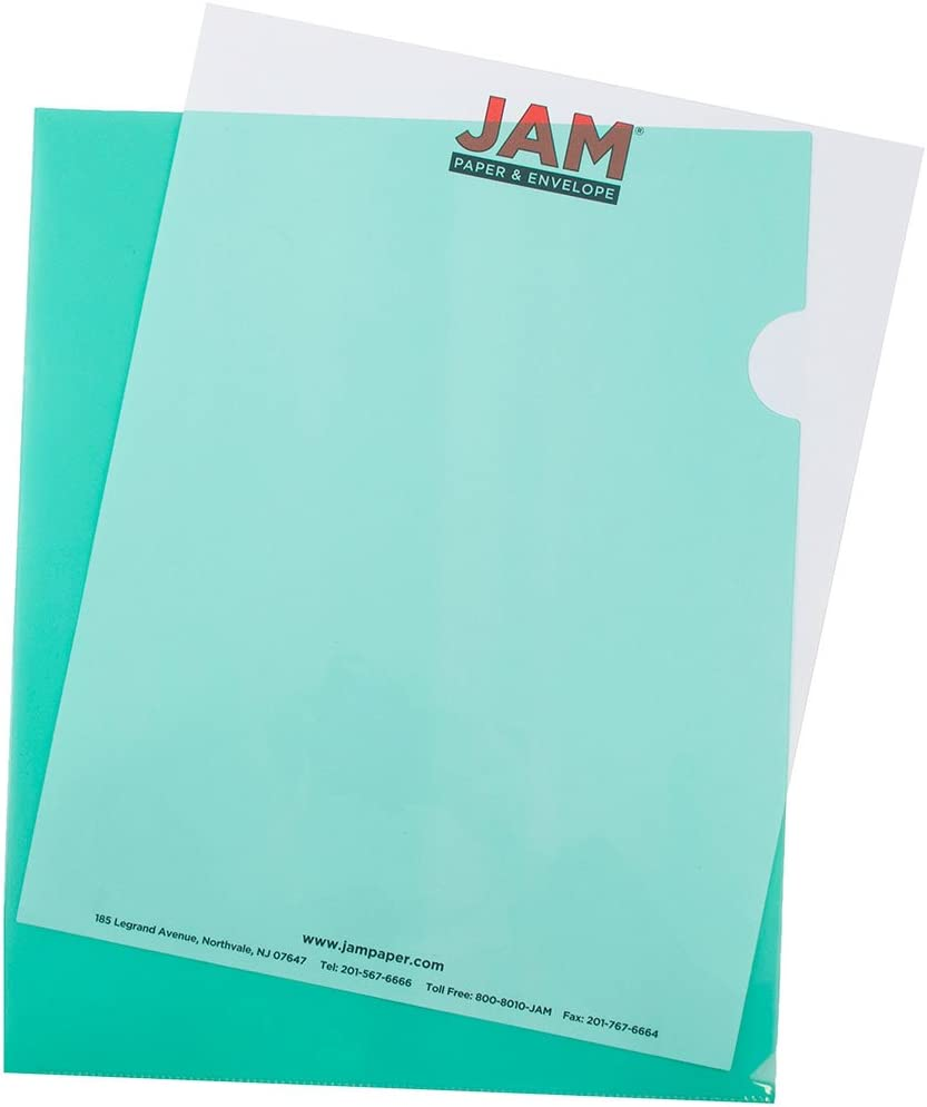 12 Page Protectors//Pack JAM Paper Plastic File Jackets 9 x 11 1//2 Letter Size - Assorted Color Project Pockets 228.6 x 292.1 mm