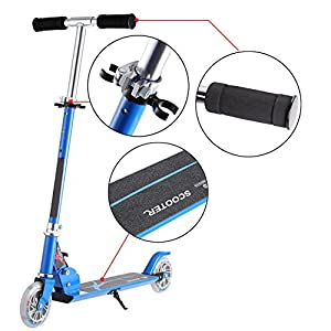 Fashine Children Kick Scooter Foldable Adjustable Height Mini Push Scooter with 2 LED Light Up Wheels for Kids and Youths (US STOCK) (Blue)