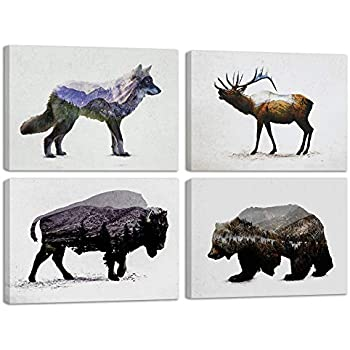 Amazon.com: Gango Home Decor Rustic Elk, Bison, Wolf and