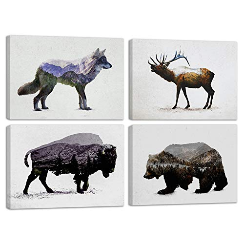 (Elk Deer Wolf Bear Bison Mountain Forest Abstract Vintage Print Canvas Wall Art Rustic Home Decor Decal Picture 4 Panel Poster for Living Room Bedroom Painting Framed Ready to Han (24