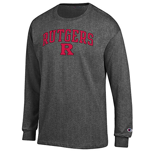 (Elite Fan Rutgers Scarlet Knights Men's Long Sleeve Arch Tee Shirt, Dark Heather, Large )