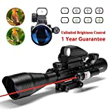 AR15 Rifle Scope 4-12x50EG Dual illuminated Optics with Holographic 4 Reticle Red and Green Dot Sight for 22&11mm Weaver/Picatinny Rail Mount