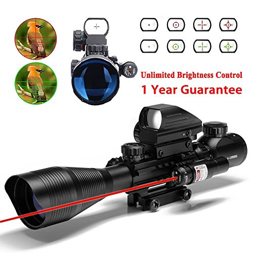 WhaleStone AR15 Tactical Rifle Scope 4-12x50EG Dual Illuminated Hunting Scope and 4 Reticle Holographic Red and Green Dot Sight and Red Laser Sight for 22&11mm Weaver/Picatinny Rail Mount