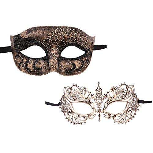 Xvevina Black Silver Gold Vintage Plastic Metal Masquerade Laser Cut Classic Masquerade Masks For a Couple (Masquerade Couple Masks)