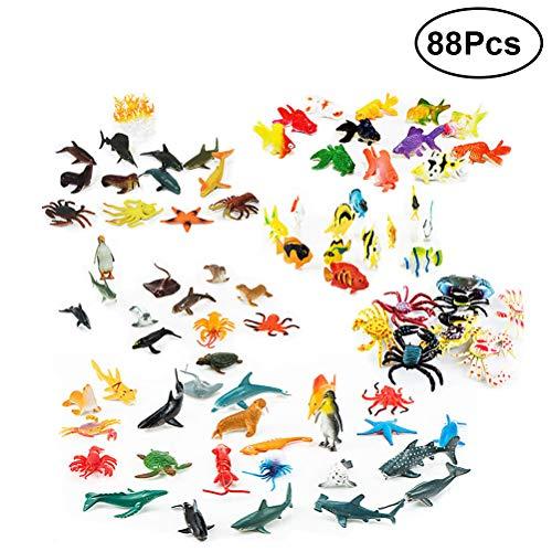 WINOMO 海洋動物セット モデルセット おもちゃ フィギュアおもちゃ 立体図鑑 キッズ サメ、ペンギン、クジラなど海の生き物、海洋生物フィギュアmini ミニフィギア プラスチック製作 大量 教育玩具セット 88個入り