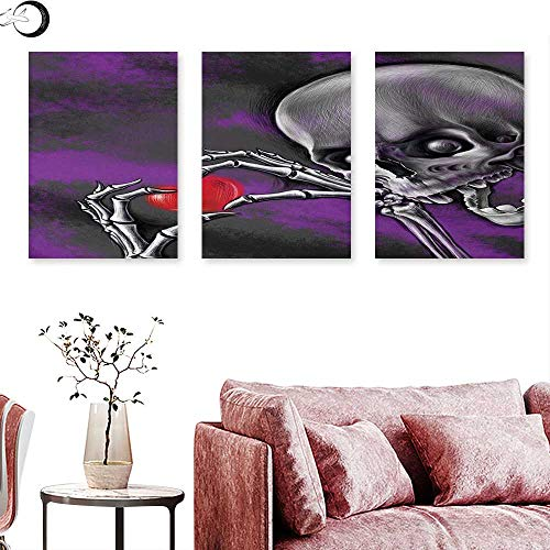 J Chief Sky Skull Wall hangings Spooky and Scary Skeleton Eternal Love Valentines Symbol Heart in its Boned Skull Hands Wall Panel Art Multi W 16