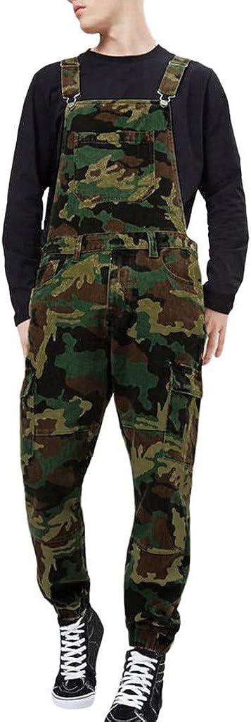 iYYVV Mens Overall Jeans Wash Work Jumpsuit Streetwear Pocket Bib Denim Pants Trousers
