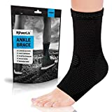 POWERLIX Ankle Brace Compression Support Sleeve (Pair) for Injury Recovery, Joint Pain and More. Achilles Tendon Support, Plantar Fasciitis Foot Socks with Arch Support, Eases Swelling
