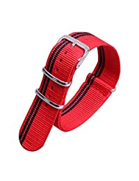 22mm Red/Black Elegant Fashion Simple NATO style Nylon Watch Straps Bands Replacement for Men