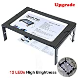 [EASYLEE] Upgrade A4 Full Page 3X Reading Magnifying Glass with 12 LED Lights, Handheld or Hands Free Magnifier with Stand & Lanyard - Large A4 Sheet Illuminated Vision Aid for Books, Newspapers, USB or Battery