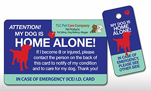 My Dog is Home Alone Pet Alert Emergency ICE ID Plastic Wallet Card and Keytag with Emergency Contact Call Card (Qty. 1) ()