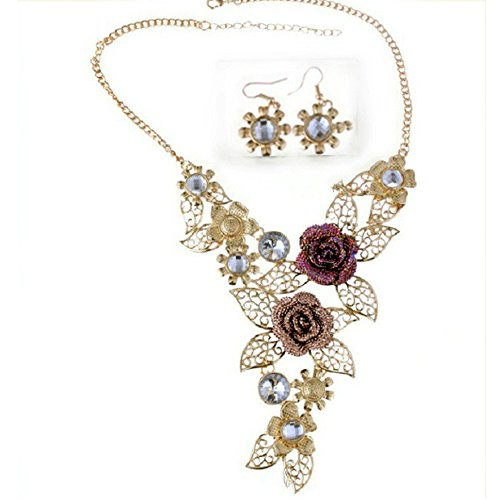 WENSY Women's Elegant Vintage Palace Flower Gold Temperament Necklace Statement Earrings Jewelry Set (Gold)