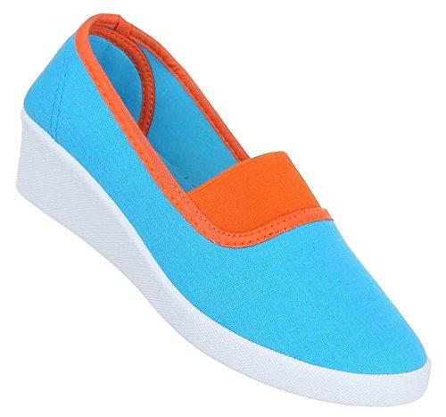 Damen Schuhe Halbschuhe Wedges Slipper Keilabsatz Ballarinas Trend Sommerschuhe Blau Orange