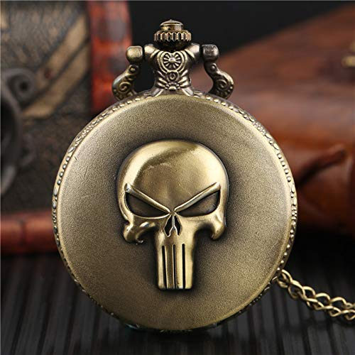 Punk Monster Pocket Watch | Solid Skull Copper Story Characterulpture Pendant Necklace | Special Halloween Clock | Unique Gifts for Boys Girls Teen | Men's Pocket Watches ()
