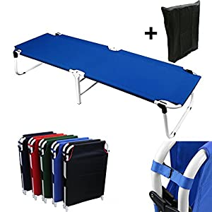 Blue Camping Folding Military Cot Outdoor + Free Storage Bag by Magshion Furniture