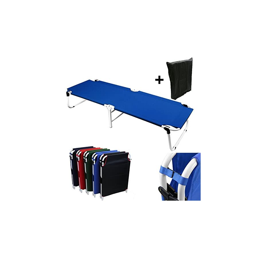 Magshion Furniture VE COT BL D Camping Folding Military Cot, Blue