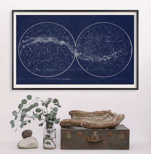(Double Constellation Hemisphere Map Print)