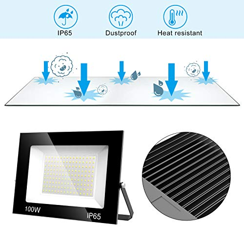 T-SUNUS 100W LED Flood Light, 10000LM Work Light Daylight White 6000K Super Bright Exterior Security Lights Outdoor Floodlights with Plug for Yard, Garden, Garage, Rooftop