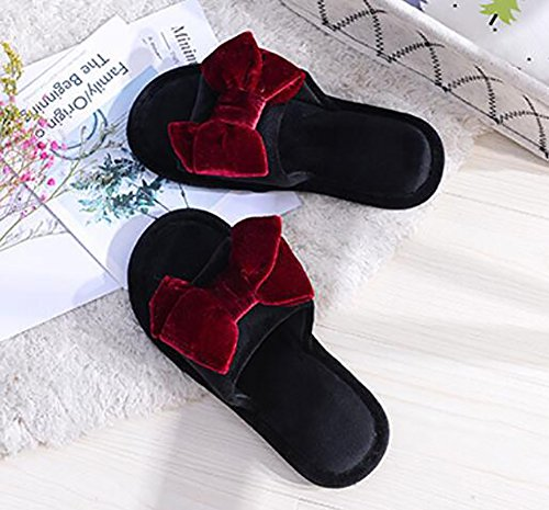 Household Four Pure 38 Slipper Seasons Cute Flats Knot Women's Red Butterfly 39 Red Slipper Color 4TIxq