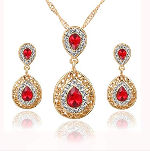 (Roseni Crystal Necklace Earrings Bracelet Ring Set Rhinestone New Simple Party Dress Jewelry Sets for Women (Gold) (Blue))