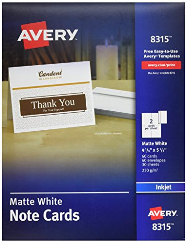 Avery Note Cards, 4.25 x 5.5 Inches, Matte, White, Box of 60 (08315)