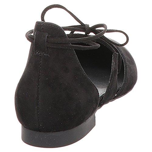 Paul Green 3399-012 Signore Ballerina In Camoscio Lacci Intorno Alla Caviglia Nero
