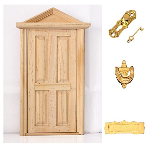 hrzyecommerce 1:12 Door with Hardware Miniature Wood Natural Color Fairy Dollhouse Steepletop (Dollhouse Door)