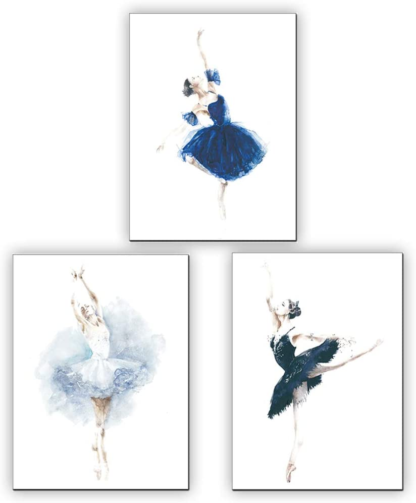 Amazon Com Modern Minimalist Watercolor Ballet Dancer Art Print Set Of 3 10 X8 Minimal Art Yoga Studio Decor Bedroom Inspirational Printing Note Frameless Please Prepare The Frame Posters Prints