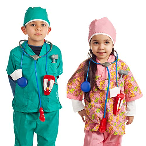 Occupation Dress Up (IQ Toys Doctor and Nurse Role Play Dress Up Costume Set Pretend Play for Kids Boys and Girls with 2 Sets of 7 Accessories Including Stethoscopes and Medical Kit Doctor's)