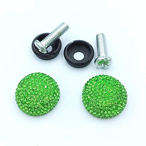(Royalfox 3D Bling License Plate Frame Screws Bolt Covers Caps Screw Fasteners for Car and Trucks,Scooter,Motor,car Bling Accessories for Women Girl (Green))