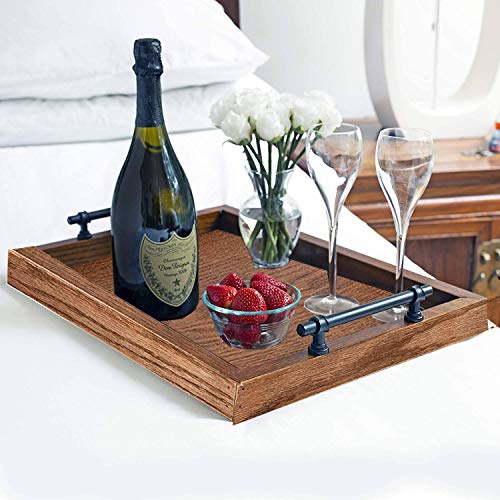 Wooden Serving Tray with Handles - Ottoman Tray, Wood Butler Platters, Perfect for Serving, Wine, Coffee, Tea, Candles and Planters - 18 L x 13 W x 1.5 H Inches - Solid Oak, Early American,1 Piece