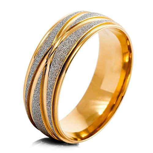 MoAndy Jewelry Mens Stainless Steel Ringss Band Gold Silver Striped Wedding Matte Elegant Size 9