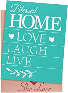She Love Silk Screen Stencils, Love Home Pattern Self-Adhesive Mesh Transfers, DIY Reusable Adhesive Stencils for Painting on Wood,Chalkboard, Fabric