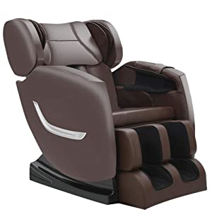 Full Body Electric Zero Gravity Shiatsu Massage Chair with Bluetooth Heating and Foot Roller for Home and Office(Brown)