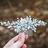 Yean Wedding Hair Comb Silver Rhinestones Opal