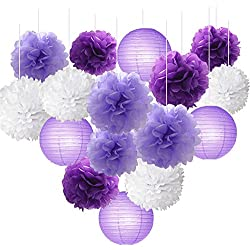 16pcs Tissue Paper Flowers Ball Pom Poms Mixed Paper Lanterns Craft Kit for Lavender Purple Themed Birthday Party Decor Baby Shower Decor Bridal Shower Decor Wedding Party Decorations