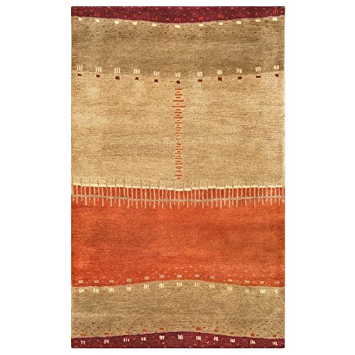 - Rizzy Home Mojave Collection MOJMV315900040508 Hand-Tufted Area Rug, 5' x 8' , Maroon