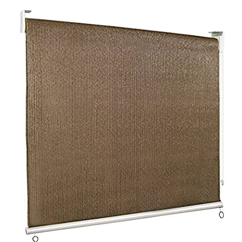 Kingbird Adjustable Roller Sun Shade Roll Up Window Blinds With 98% UV Protection and Beaded Chain 6 x 6 FT Mocha