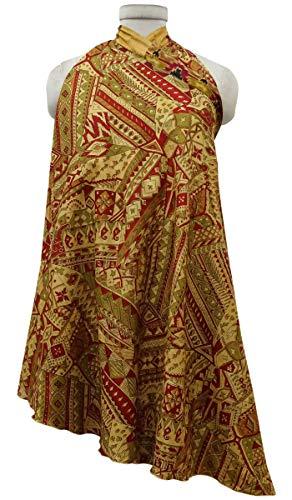 Indianbeautifulart Les Femmes Check Imprimer Pure Soie Vintage Saree rversible Rouge Wrap Summer Beach Dress Maroon & Beige