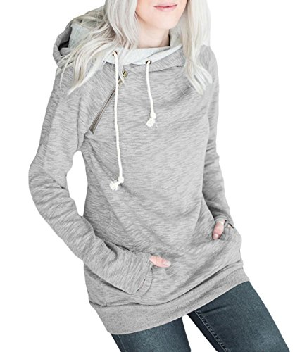 Anmengte Women Fall Casual Double Hooded Long Sleeves Sweatshirt Top Sweater (XS, 11)