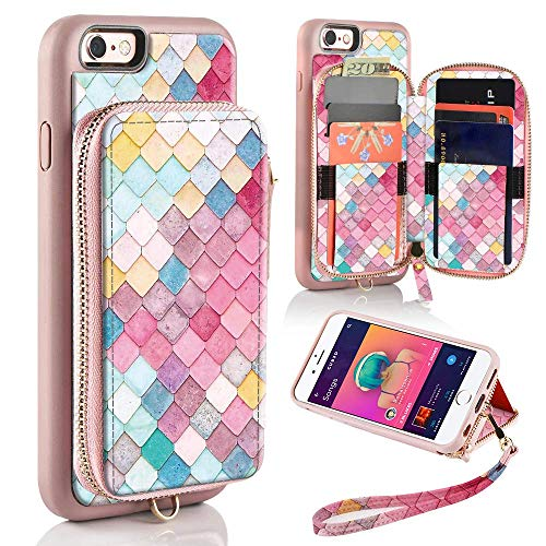 ZVE Wallet Case for Apple iPhone 6 Plus and iPhone 6s Plus, 5.5 inch, Zipper Wallet Case with Credit Card Holder Slot Handbag Purse Print Cover for Apple iPhone 6 / 6s Plus 5.5 inch - Mermaid Wall