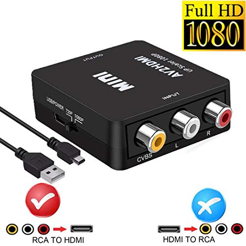 RCA to HDMI, AV to HDMI,YUANLY 1080P Mini RCA Composite CVBS AV to HDMI Video Audio Converter Adapter Supporting PAL/NTSC with USB Charge Cable for PC Laptop Xbox PS4 PS3 ()