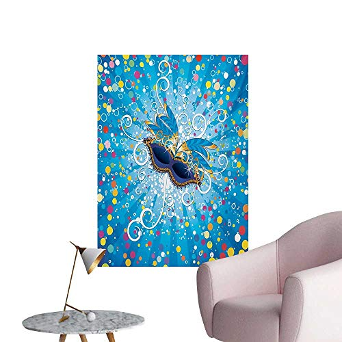 Anzhutwelve Mardi Gras Wall Sticker Decals Blue Backdrop with Colorful Dots Spots and Carnival Mask with Stylized SwirlsMulticolor W20 xL28 Space Poster