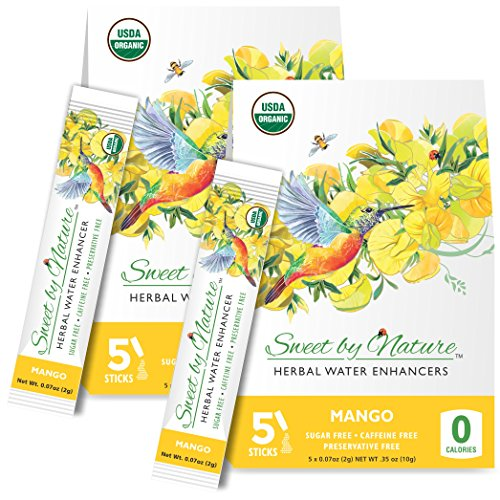 Sweet by Nature Honeybush Herbal Water Enhancers Mango 5+5 Free Sticks