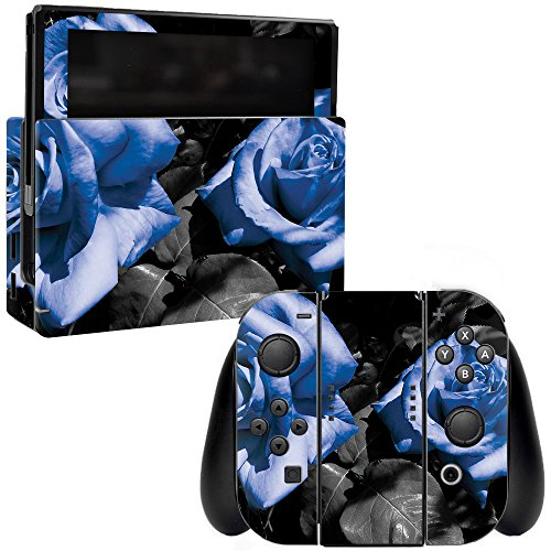 MightySkins Skin Compatible with Nintendo Switch - Blue Roses | Protective, Durable, and Unique Vinyl Decal wrap Cover | Easy to Apply, Remove, and Change Styles | Made in The USA