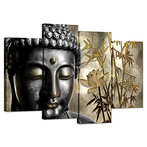 - ZingArts 4 Panel Buddha Canvas Prints Wall Art Buddha Statue with Gold Lotus Bamboo Zen Painting Religon Pictures Print On Canvas Stretched and Framed for Modern Home Decor Rerdy to Hang