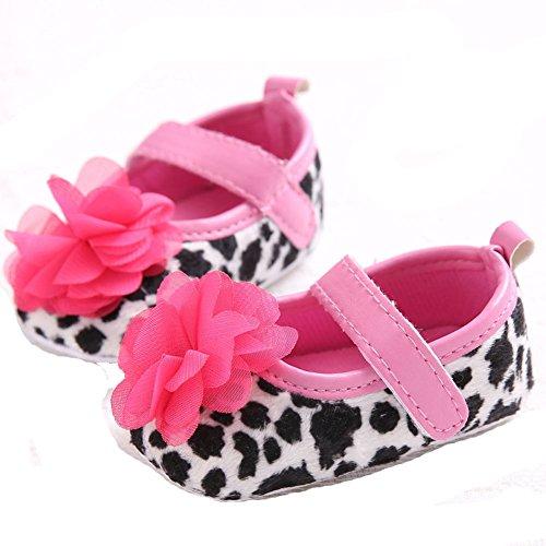 etrack-online bebé niña Prewalker Mary Jane grandes flores leopardo suave soled zapatos leopardo Talla:12-18months leopardo