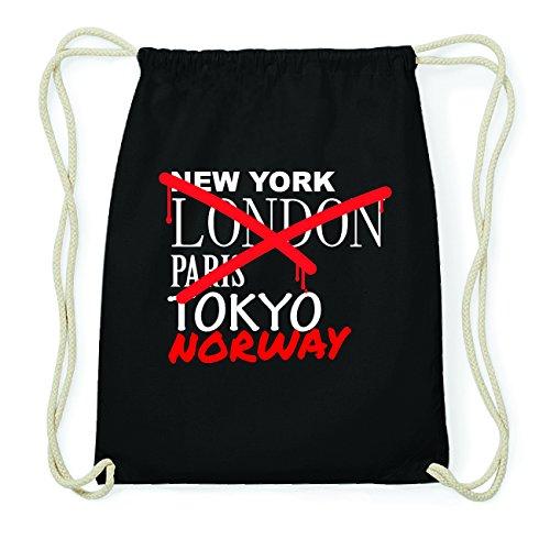 JOllify NORWAY Hipster Turnbeutel Tasche Rucksack aus Baumwolle - Farbe: schwarz Design: Grafitti lTwhjhMe