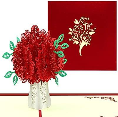 VEESUN Tarjeta de Felicitación Boda, Pop Up Tarjetas 3D con Envoltura Tarjeta de Regalo Manuscrita para Día de la Madre Valentin Cumpleaños Navidad ...