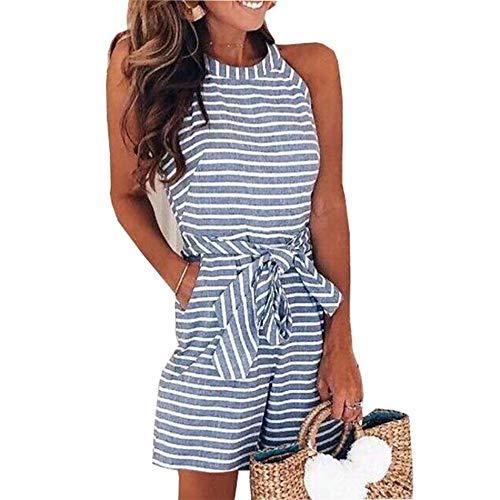 IyMoo 2019 Women's Striped Sleeveless Waist Belted Zipper Back Wide Leg Loose Jumpsuit Romper with Pockets Blue S